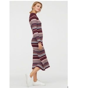 Ribbed Burgundy Sweater Dress